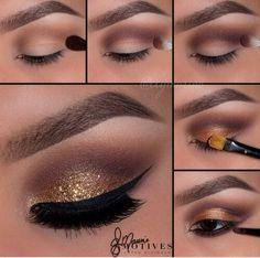 Makeup yeux marron paillettes dorée