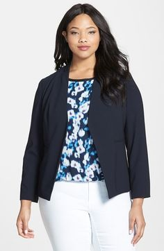 Ellen Tracy Two-Tone Crepe Blazer (Plus Size) available at #Nordstrom