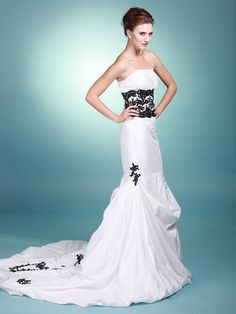 Lace Waist Band Strapless Mermaid Wedding Dress   Trumpet/Mermaid,Floor Length,Empire,Court Train,Strapless,Sleeveless,Appliques,Pleats,Ruffles,Zipper,Taffeta,Church,Hall,Spring,Summer,