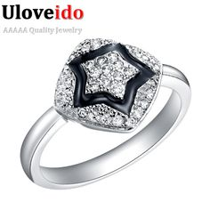 Find More Rings Information about Uloveido 2016 Sale Black Enamel Retro Rings for Woman Micro Pave Full Austrain Crystal Anel Glue Pentagram Ring Bisuteria J213,High Quality ring professional,China ring stop Suppliers, Cheap ring guard from Ulovestore Fashion Jewelry on Aliexpress.com