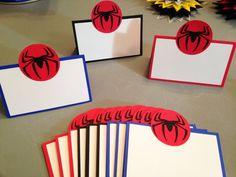 12 tarjetas de alimentos de Spiderman Spiderman fiesta