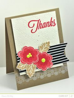 "Love how she used the lace border stamp and wide ribbon!!! ♥ ""Thanks"" by Dawn McVey 
