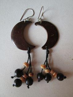 1 Paar Ohrringe Kokos aus Brasilien Länge ca. 10cm Ohr Hippie Goa 3 Halbmonde
