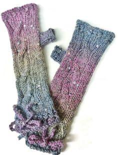 Women's Fingerless Gloves/Knit Ladies Handwarmers/ by MeridianMade