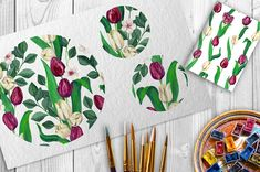 Burgundy and Cream Tulips Patterns by WBS Design on @creativemarket