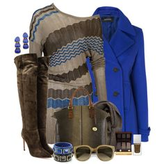 """Brown&Blue"" by simona-risi on Polyvore"