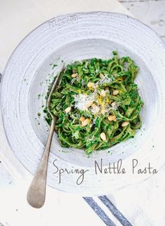 Linguini with Nettle Pesto - Feasting At Home