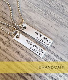 Her One His Only / Couples Jewelry / Stainless Steel by EmandCait, $24.00