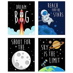 Space Kids Nursery Bedroom Decor - Set of Four Prints - Cute Inspirational Wall Art Decoration for Boys and Girls Space Themed Nursery, Baby Nursery Decor, Nursery Themes, Boys Room Decor, Kids Bedroom, Bedroom Decor, Art Wall Kids, Wall Art Decor, Kid Spaces