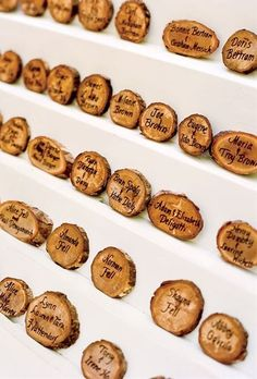 Woodcut place cards highlighted the outdoor theme