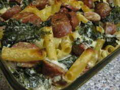 Baked Ziti with Kale and Sausage in Garlic-Parmesan Cream Sauce