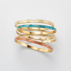 Summer Breeze Collection 5-Piece Bracelet Set. Avon. Wear one or all five of the bangle bracelet set. The metallic set features: two goldtone bracelets, a turquoise bracelet, a peach/coral bracelet and a cream-colored bracelet. Regularly $19.99.  FREE shipping with any $40 online Avon purchase.  #CJTeam #Avon #Style #Sale #Jewelry #Fashion #C17 #Gift #Bracelet #SummerBreeze #Avon4Me Shop Avon jewelry online @ www.TheCJTeam.com