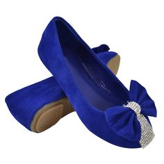 Kids Ballet Flats Velvet Rhinestone Embellished Bow Evening Comfort Shoes  Blue