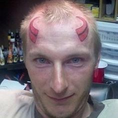 Receding Hairlines are Evil - Red Devil Horns Tattoo - WTF Fail ---- best hilarious jokes funny pictures walmart humor fail