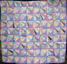1930's Dresden Fan quilt by Agnes (Stoner) Wood and Doris (Sands) Hawker.  Pieced circa 1930s; finished in 2005