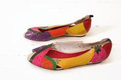 80s Leather Fruit Applique Flat Peep Toe - Beverly Feldman