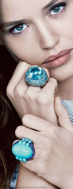 large blue statement rings