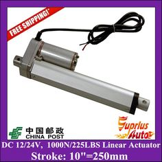 52.25$  Buy here - http://alivph.shopchina.info/go.php?t=32807339749 - Free Delivery DC 12V/24V 10inch/250mm linear actuator with mounting brackets, 1000N/100kgs load linear actuators for window 52.25$ #SHOPPING