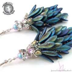 Shoulder dusters featuring Laser Etched Daggers, Backlit GemDuos, Lily Petals, O's, True2 fire polished, Twist, Miyuki 15/0, Swarovski Pearls and crystals.
