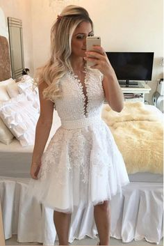 Prom Dresses Lace, White Lace Homecoming Dress, Prom Dresses White, V-Neck Prom Dresses, Short Homecoming Dress Wedding Dresses 2018 White Homecoming Dresses, Classy Prom Dresses, V Neck Prom Dresses, Cheap Prom Dresses, Evening Dresses, Graduation Dresses, Dress Prom, Girls Dresses, Cheap Dress