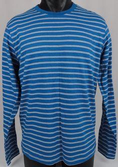 BONOBOS Crew Neck T-Shirt Regular Fit Men L Long Sleeve Blue White Stripe Cotton #Bonobos #CrewneckBasic