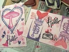 modern valentine postcards made for mail art exchange - created with hand carved rubber stamps