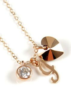 Personalized Rose Gold Heart necklace