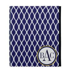 Navy Blue Monogrammed Barcelona Print iPad Folio Cover