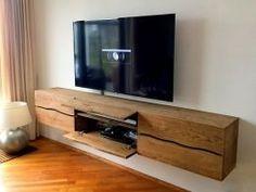 kleppen en laden eiken op maat – Home Trends 2020 Living Room Tv, Home And Living, Tv Wall Cabinets, Pool Table Room, Rack Tv, Floating Cabinets, Tv Wall Decor, Tv Unit Design, Living Room Designs