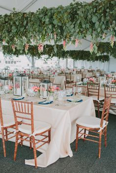Wedding Reception Tent With Hanging Eucalyptus   Marvelous Things Photography https://www.theknot.com/marketplace/marvelous-things-photography-richmond-va-764016   Sweet Root Village https://www.theknot.com/marketplace/sweet-root-village-alexandria-va-500717   Type A Society