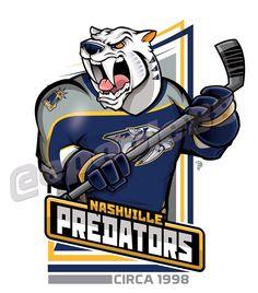Retro Nashville Predators, courtesy of that great cartoonist Usa Hockey, Hockey Logos, Nhl Logos, Sports Team Logos, Hockey Teams, Sports Art, Creative Logo, Nhl Wallpaper, Hockey Party