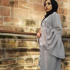 Grey laced wrap over abaya with grey tassel belt and bell sleeves A A B I S H collection #abaya#fashion#cream#black#laced#love#arabiantheme#newdesign#designer#tailor#modestfashion#modestwear#modanisa#sebinah#dinatokio#habibadasilva#dubaifashion#henna#blackhenna#arabic#style#muslimahfashion#beauty#class#muslimahfashion#hijab#hijabfashioninsta#innayahashion#dmfw @sebinaah @dinatokio