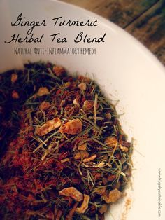 A super easy recipe for Ginger Turmeric loose leaf tea! Reduce inflammation and relieve pain NATURALLY!