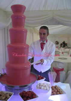 giant pink chocolate fountain