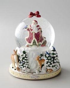 Winter Forest Santa Snow Globe