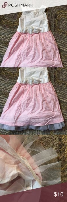 Spring/summer dress. White tip with rosettes on waist. Super soft pink dotted skirt with white tulle underneath and a white soft liner. Would be perfect for Easter. Comes with white bloomer for over undies or diaper. Gymboree Dresses Formal