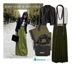 polyvore, combination, hijab, tesettür, tesettür stili, tesettür kombinasyon, tesettür kombin, army yeşili, deri ceket, army modası, 2013 kış modası, uzun etek, şal, eşarp, karacabutik, karacabutik/polyvore