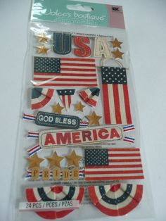 VINTAGE USA AMERICA - 4th of July, Military, Army Scrapbooking layout ideas - Jolees Boutique 3d dimensional stickers by ExpressionsofFaith on Etsy