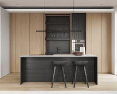kitchen Modern Kitchen Design, Interior Design Kitchen, Kitchen Sets, Ceiling Design, Kitchen Furniture, Cool Kitchens, House Design, Minimal, Muji
