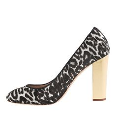 Etta Gold-Heel Calf Hair Pumps via J.Crew