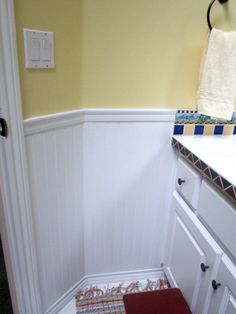white beadboard in bathroom - yellow paint