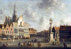 Kiijk op Den Bosch - Gezicht op de markt circa 1665, Schilderij Jan Abrahamsz. van Beerstraten