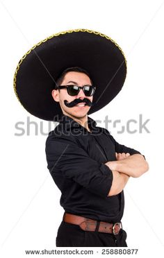 Funny man wearing mexican sombrero hat isolated on white - stock photo