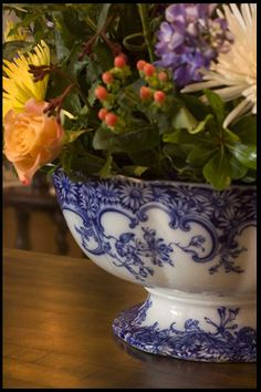 Beautiful blue and white bowl filled with fresh flowers........