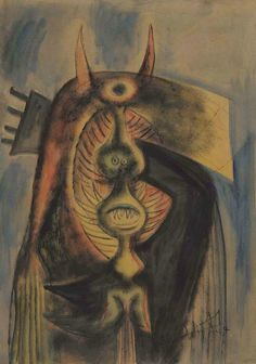 [ L ] Wifredo Lam - Untitled oil on paper mounted on canvas (1947) 92 x 65 | Flickr - Photo Sharing!