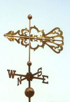 Zephyr Banner Weather Vane by West Coast Weather Vanes.  This handcrafted Zephyr Banner weather vane has a custom design cut out in copper.