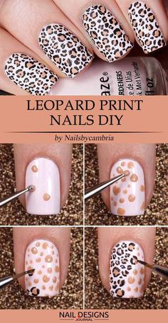 15 Super Easy Nail Designs DIY Tutorials: #15. Leopard Print Nails DIY; #nailart; #naildesign; #nailtutorial