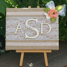 Monogram Art Burlap and Lace Initials by WeddingDecorDesigns, $38.00
