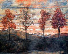 Egon Schiele (1890-1918, Austria) | Quattro Alberi (Paesaggio), 1917