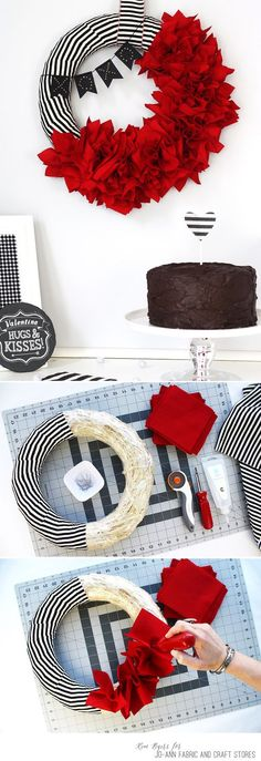 How to make a DIY bunting Valentine's Day Wreath
